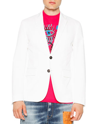 Cotton Stretch Two-Button Blazer, White