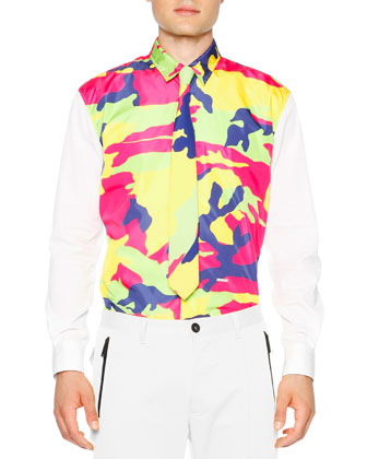 Multi-Color Camo Long Sleeve Shirt, White