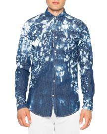 Bleached Western Denim Shirt, Blue