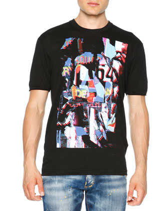 Abstract Graphic Short-Sleeve Tee, Black