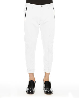 Cropped Pants with Black Zip, White