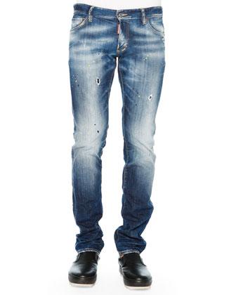 Paint-Splatter Slim-Fit Jeans, Blue