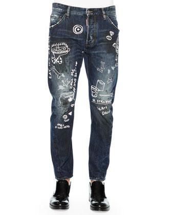 Graffiti-Print Denim Jeans, Blue