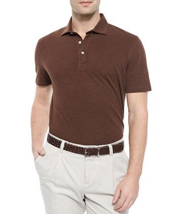 Fine Pique Polo Shirt, Tan