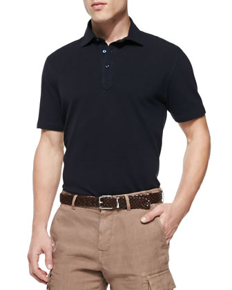 Fine Pique-Knit Polo Shirt, Navy