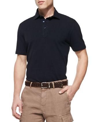 Fine Pique-Knit Polo Shirt, Navy