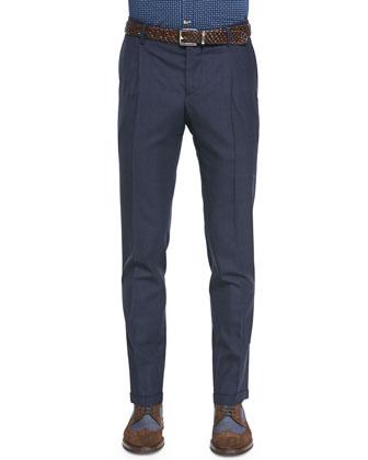 Single-Pleat Wool Trousers, Blue