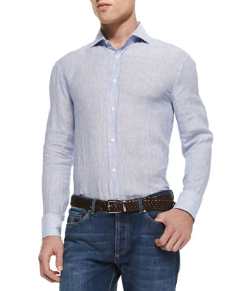Fine-Stripe Linen Shirt, Blue