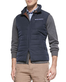 Nylon Zip-Down Vest, Navy