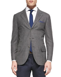 Wool-Blend Flamed Blazer, Gray