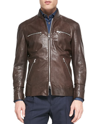 Leather Pilot Jacket, Dark Brown