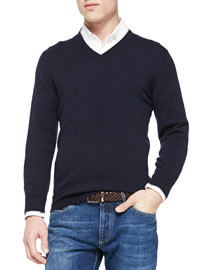 Cashmere V-Neck Pullover Sweater, Navy