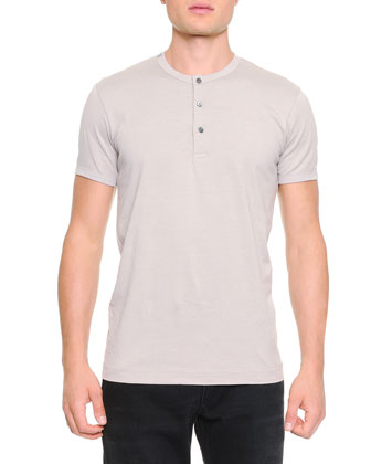 Short-Sleeve Henley T-Shirt, Light Gray