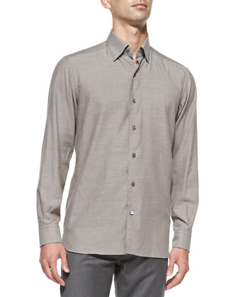 Woven Button-Down Shirt, Brown