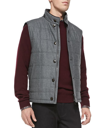 Shearling Fur-Trimmed Quilted Vest, Dark Gray