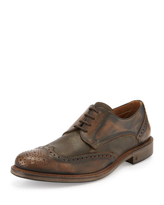 Calf Skin College Wing-tip Lace-Up, Brown