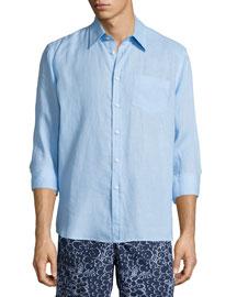 Caroubier Linen Long-Sleeve Shirt, Bleu Ciel