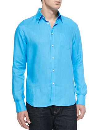 Linen Long-Sleeve Shirt, Blue