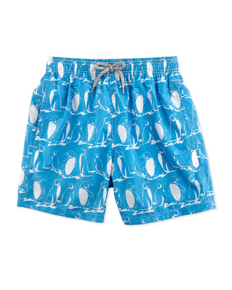 Jahina Penguin-Print Swim Trunks, Light Blue