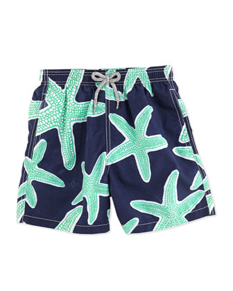 Jam Starfish-Print Swim Trunks, Blue