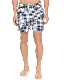 Mistral Check Turtle-Print Swim Trunks, Navy