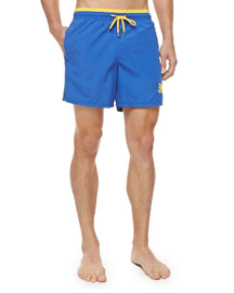 Moka Embroidered Turtle Swim Trunks, Blue