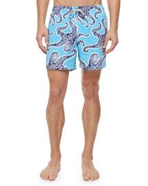 Moorea Octopus-Print Swim Trunks, Blue