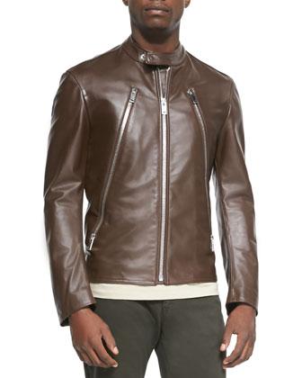 Leather Zip Moto Jacket, Brown