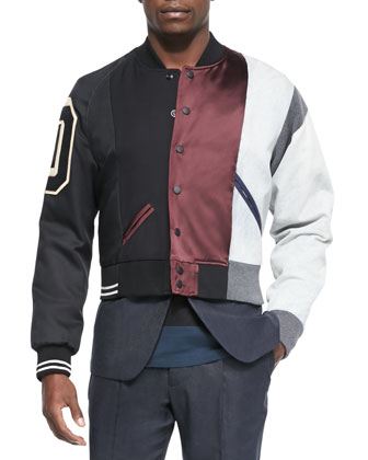Multi Matchwork Varsity Jacket