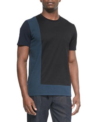 Crewneck Colorblock Tee Shirt, Black/Blue/Gray