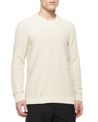 Crewneck Sweater with Cutout Hem