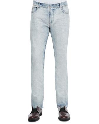 Bleach Wash Denim Jeans, Light Blue