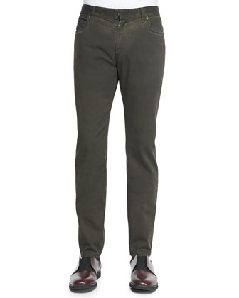 Slim-Fit Denim Pants, Dark Green