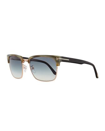 River Square Sunglasses, Green Horn