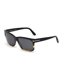 Barbara Rectangle Sunglasses, Black/Havana