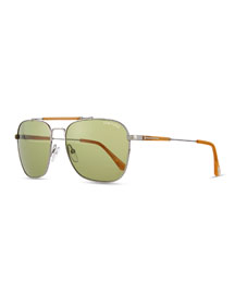 Edward Square Sunglasses, Ruthenium/Honey