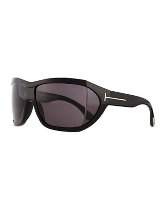 Sedgewick Wrap Sunglasses, Shiny Black