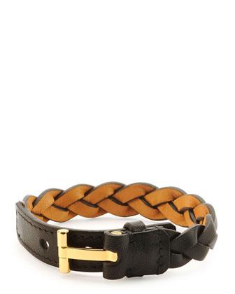 Nashville Men's Braided Leather Bracelet, Black