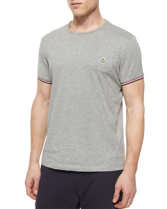 Short-Sleeve Tipped Crewneck Shirt, Gray