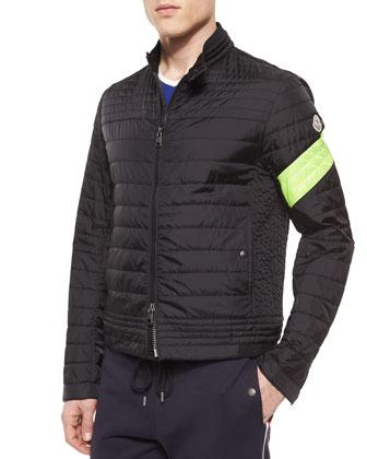 Daquin Quilted Front-Zip Nylon Moto Jacket, Black