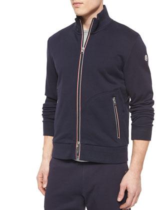 Full-Zip Cotton Track Jacket, Navy
