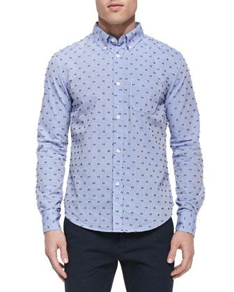 Fil Coupe Button-Down Shirt, Light Blue