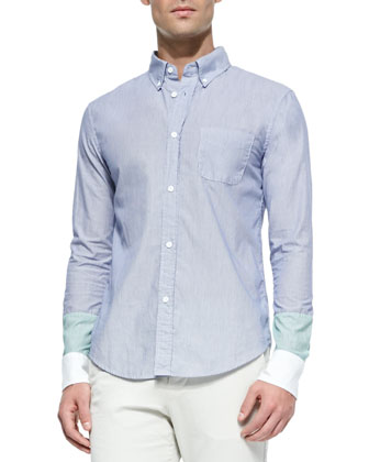 Colorblock Button-Down Shirt, Light Blue
