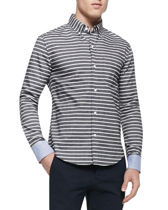 Horizontal-Stripe Button-Down Shirt, Black/White