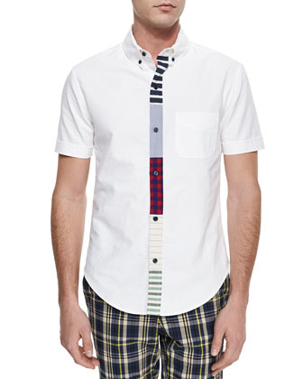 Woven Button-Down Shirt with Multicolored Placket, White