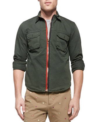 Zip-Front Twill Shirt Jacket, Army Green