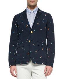 Embroidered Broken-Rainbow Sweater Jacket, Navy