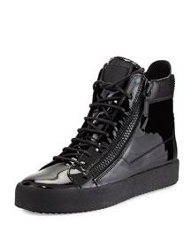 Men's Patent Leather High-Top Sneaker, Black