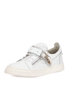 Ski-Buckle Low-Top Sneaker, White