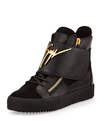 Logo Strap Leather High-Top Sneaker, Black